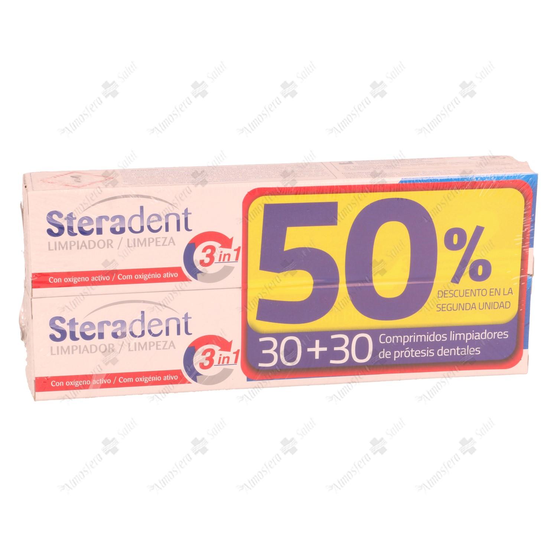 STERADENT DUPLO 50% 2 UNIDAD 30+30 60 TABLETAS